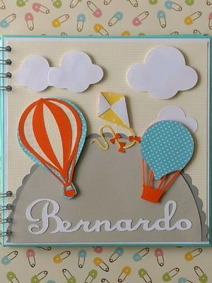 álbum fotos caderno bebê menino mensagens maternidade balões