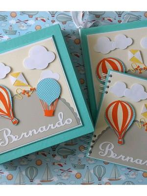 livro bebê menino caixa e caderno personalizado balões pipa