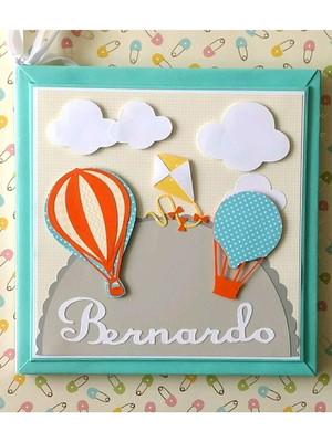 livro diário bebê balões pipa candy colors menino scrapbook