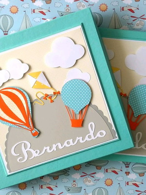 Diário bebe personalizado e caixa menino balões nuvens scrap