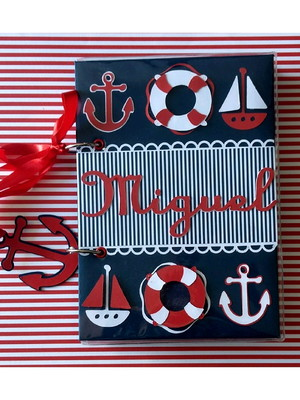 agenda rotina bebê menino personalizada marinheiro scrapbook
