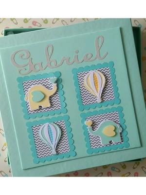 Diário bebê e Caixa elefantinho e balões candy colors menino
