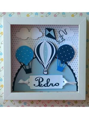 Quadro porta maternidade balões azul bebe menino