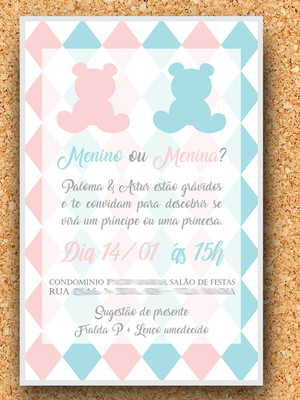 Convite Chá de Revelação Ursinho (digital)