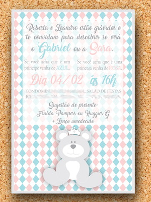 Convite Chá de Revelação Urso Corôa (digital)