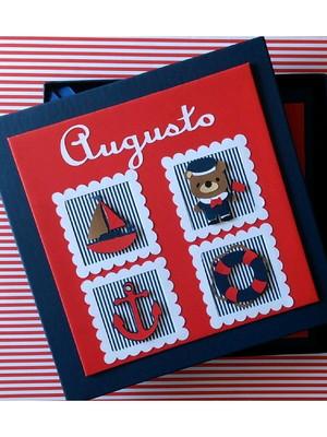 Diario do bebe Ursinho Marinheiro e caixa scrapbook vermelho