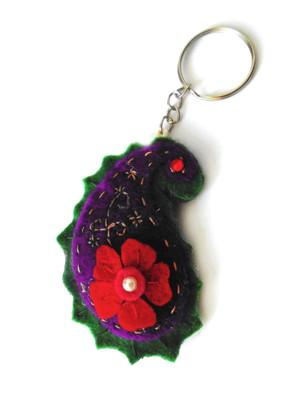Chaveiro em feltro persa floral -roxo