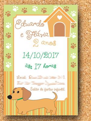 Arte Convite Cachorrinho Basset (digital)