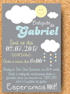Convite Batizado Chuva de Bençãos - digital