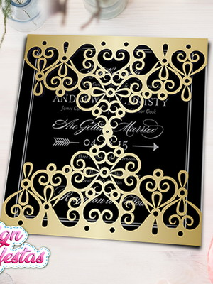 Arquivo silhouette para Convite rendado Gold