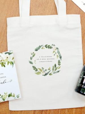 Kit Ecobag de algodão com Cartão personalizado para Madrinha