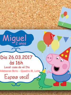 Convite + tag George Pig | Peppa - digital