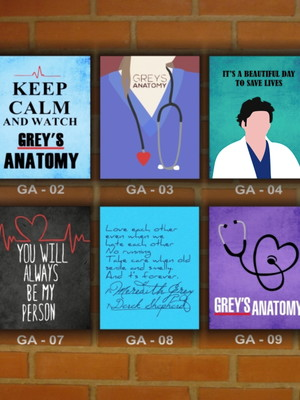 Placa Decor Vintage Grey's Anatomy