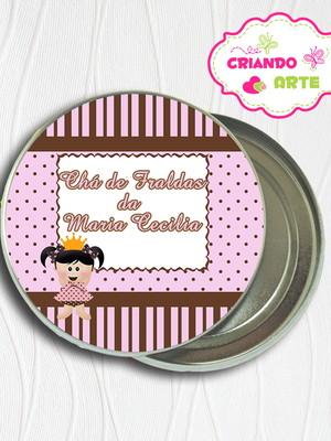 Latinha Personalizada Boneca Poa marrom e rosa