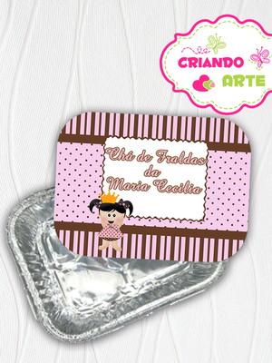 Marmitinha Personalizada Boneca Poa marrom e rosa