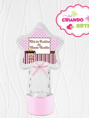 Tubete Estrela Personalizado Boneca Poa marrom e rosa