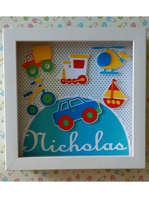 quadro enfeite de porta menino Brinquedos em cores vivas