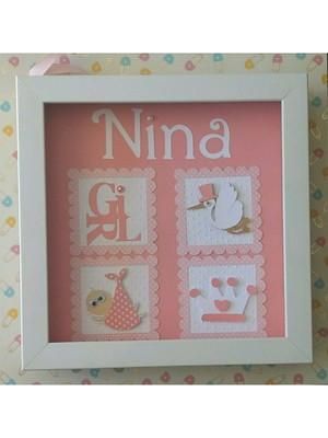 Quadro porta maternidade menina bebê princesa scrapbook