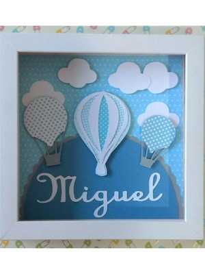 Quadro enfeite de porta maternidade menino balões céu azul