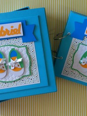 álbum fotos personalizado menino e caixa decorado scrapbook