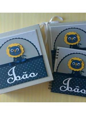livro do bebê menino caixa e caderno personalizado leãozinho