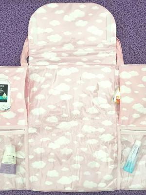 Bolsa bebê trocador portátil - nuvens rosa