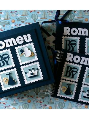 livro bebê príncipe menino scrapbook caixa caderno mensagens