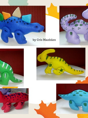 Dinossauros de feltro - KIT com 6 Dinos