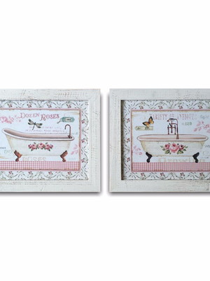 Kit 2 Quadros Vintage para Banheiro Tam 22 x 19 cm COM VIDRO