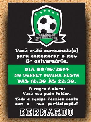 Arte Convite Futebol Brasão - digital