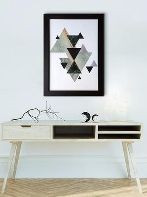 Quadro Abstrato Geométrico Com moldura e Vidro Tamanho A4