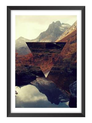 Quadro Abstrato Geométrico Paisagem, Moldura e Vidro Tam. A4