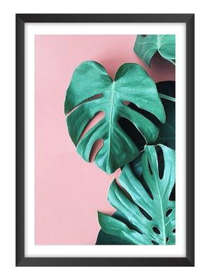 Quadro Abstrato de Folhagens Fundo Rosa, Moldura e Vidro