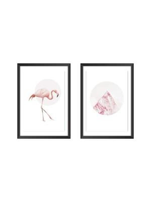 Dupla de Quadros com Posteres Flamingo, Moldura e Vidro