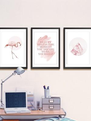 Trio de Quadros de Flamingo e Frases, Moldura e Vidro