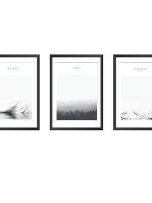 Trio de Quadros com Posteres Minimalistas, Moldura e Vidro