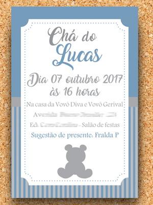 Convite Chá Ursinho Azul e Cinza (digital)
