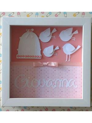 quadro porta maternidade quarto bebê menina passarinhos rosa