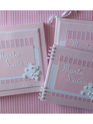 livro bebê kit menina caixa e caderno mensagens e fotos ursa