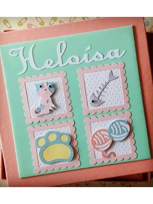 livro bebê com caixa personalizado para menina gatinho