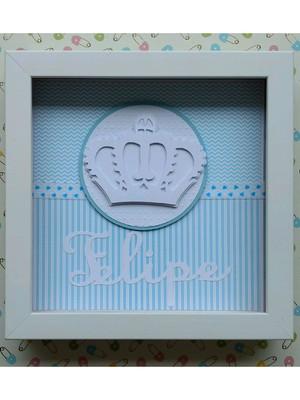 Enfeite porta Bebê menino príncipe scrapbook azul claro