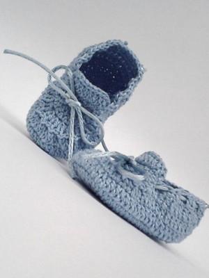 A407 Sapatinho Croche De Menino azul Masculino Bebe