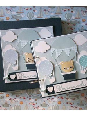 álbum fotos bebê menino scrapbook balões e urso com caixa
