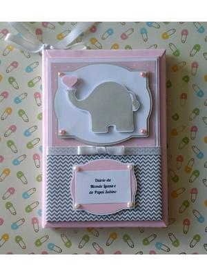Diário da Gravidez Personalizado em scrapbooking elefantinho