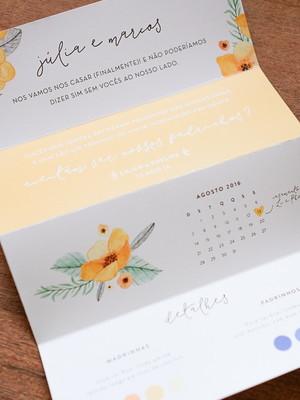 Convite Sanfona - Padrinhos Floral