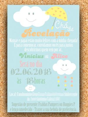 Convite Chá Revelação Chuva Colorido (digital)