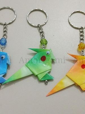 Chaveiro de origami - Calopsita