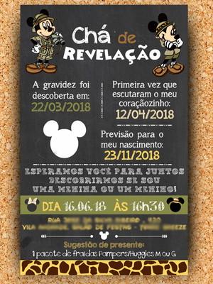 Convite Chá Revelação Mickey Safari (digital)