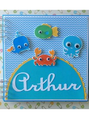 caderno personalizado bebê maternidade menino fundo do mar