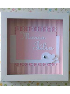 quadro enfeite porta maternidade bebê menina passarinho